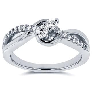 Annello Two Collection 14k White Gold 1/4ct TDW Diamond Two-Stone Ring (G-H, I1-I2)