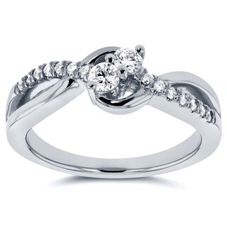 Annello by Kobelli Two Collection 14k White Gold 1/4ct TDW Diamond Two-Stone Ring