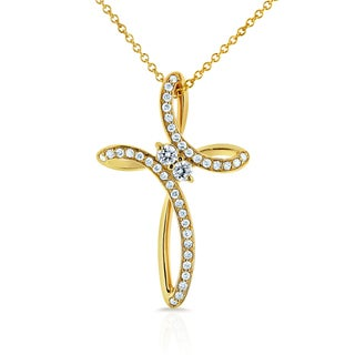 Annello by Kobelli Two 14k Yellow Gold 1/4ct TDW Diamond Two-Stone Infinity Cross Pendant