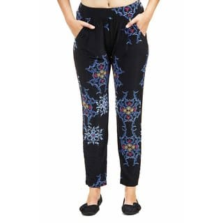 24/7 Comfort Apparel Women's Blue&Black Fall Floral Printed Pants|https://ak1.ostkcdn.com/images/products/10641393/P17709118.jpg?impolicy=medium