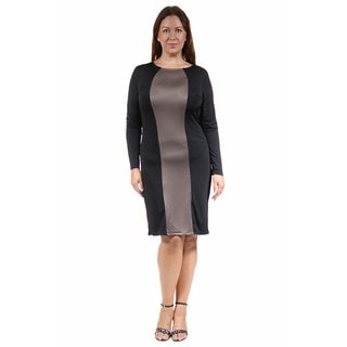24/7 Comfort Apparel Women's Plus Size Two-Tone Sheath Dress