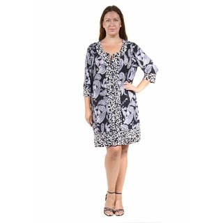 24/7 Comfort Apparel Women's Plus Size Black&White Paisley Polka Dot Printed Shift Dress