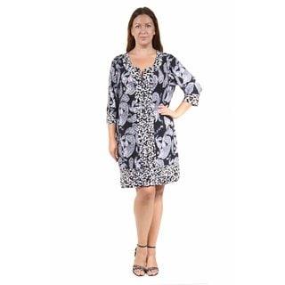 24/7 Comfort Apparel Women's Plus Size Black&White Paisley Polka Dot Printed Shift Dress
