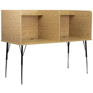 Double Wide Study Carrel with Adjustable Legs and Top Shelf in Nebula Finish