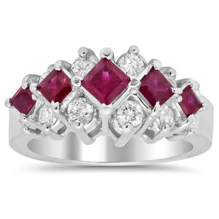 Artistry Collections 14k White Gold 3/4ct TDW Diamond and Ruby Ring (F-G, SI1-SI2)