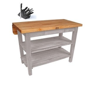 "John Boos 48"" x 38"" Kitchen Island Bar & Drop Leaf KIB03-UG Useful Grey with 13-piece J A Hencles Knife Set"