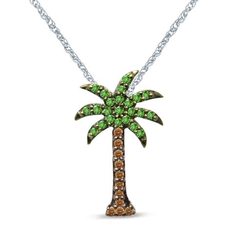 Unending Love Sterling Silver 1/5 ctw Green and Brown Diamond Palm Tree Pendant