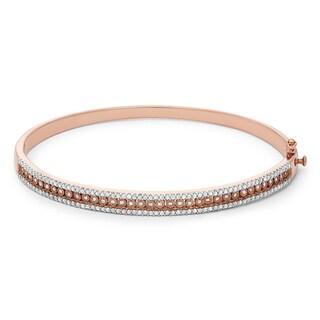sterling silver plated in Rose Gold 1 Carat Diamond Bangle Style Bracelet