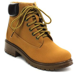 Bamboo TREKKING-01 Women's Lug Sole Lace Up Hiking Ankle Booties