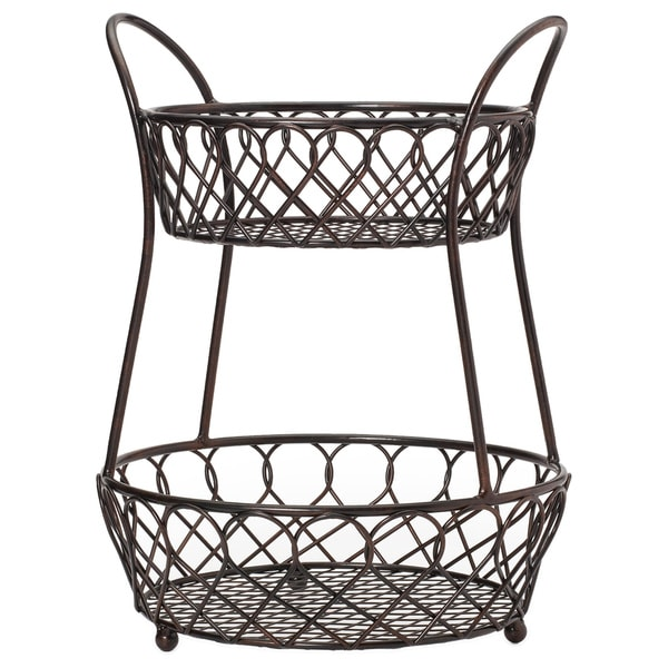 Gourmet Basic By Mikasa Loop And Lattice 2 Tier Basket Antique Black Finis