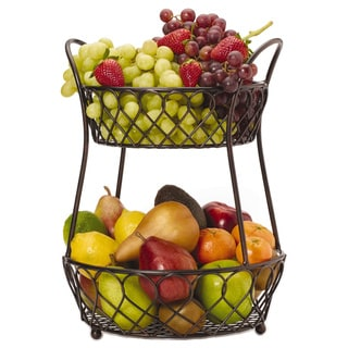 Mikasa Gourmet Basics Loop And Lattice 2 Tier Basket