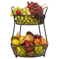Gourmet Basic By Mikasa Black Antique-finished Metal Loop And Lattice 2-tier Basket
