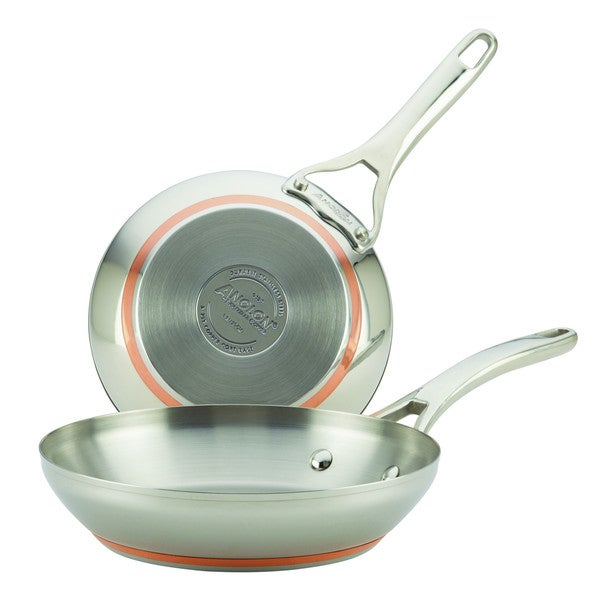 Anolon(r) Nouvelle Copper Stainless Steel Twin Pack 8-Inch and 9-1/2-Inch French Skillets