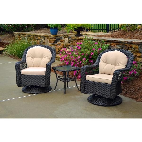 Biloxi Outdoor Espresso Resin Wicker 3 Piece Swivel Glider Set with Beige Cus