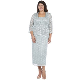 R&M Richards Plus Size Lace Swing Jacket Dress