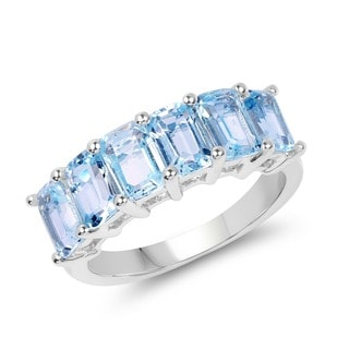 Olivia Leone 4.08 Carat Genuine Blue Topaz .925 Sterling Silver Ring