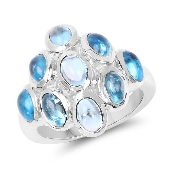 Malaika 6.30 Carat Genuine Swiss Blue Topaz .925 Sterling Silver Ring