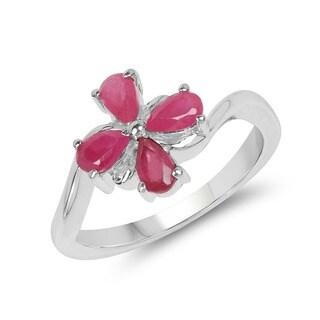 Malaika 1.12 Carat Genuine Ruby .925 Sterling Silver Ring