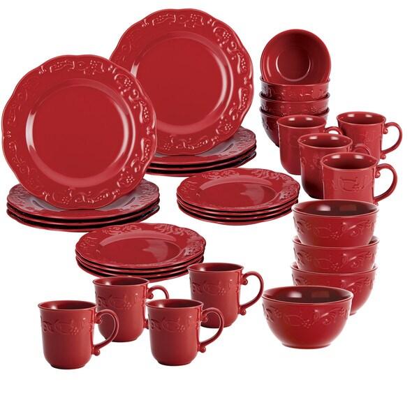 BonJour Dinnerware 32 Piece Spiceberry Set Red