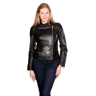 Kenneth Cole Women's Motorcycle Leather Jacket