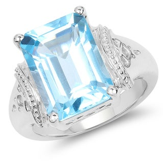 Malaika 8.89 Carat Genuine Swiss Blue Topaz .925 Sterling Silver Ring