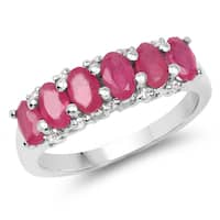 Malaika 2.09 Carat Genuine Ruby and White Topaz .925 Sterling Silver Ring