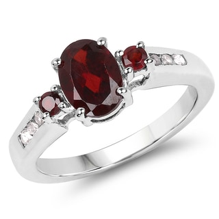 Malaika 1.97 Carat Genuine Garnet and White Topaz .925 Sterling Silver Ring