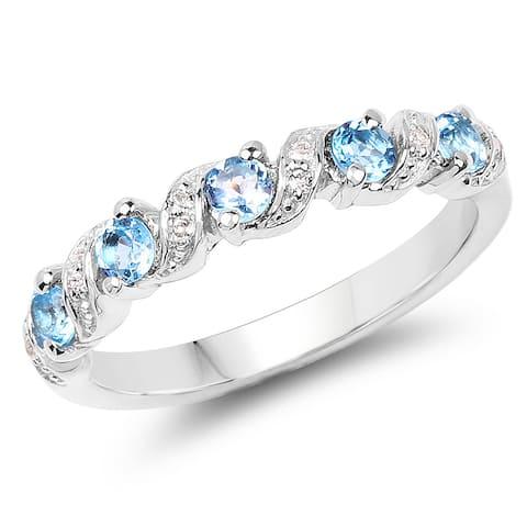 Olivia Leone 0.64 Carat Genuine Swiss Blue Topaz and White Topaz .925 Sterling Silver Ring