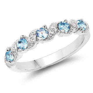 Olivia Leone 0.64 Carat Genuine Swiss Blue Topaz and White Topaz .925 Sterling Silver Ring