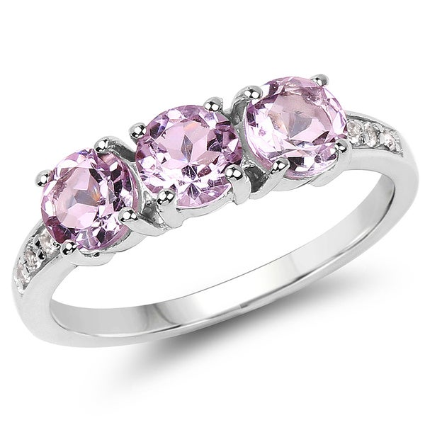 Malaika 1.44 Carat Genuine Pink Amethyst and White Topaz .925 Sterling Silver Ring