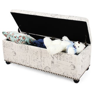 Adeco Fabric Sturdy Design Rectangular Tufted Lift Top Storage Ottoman Footstool with Solid Wood Legs and Nailhead Trim