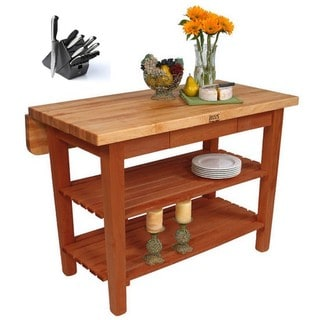 "John Boos 48"" x 32"" Kitchen Island Bar & Drop Leaf KIB01-CR Cherry Stain with 13-piece J A Hencles Knife Set"