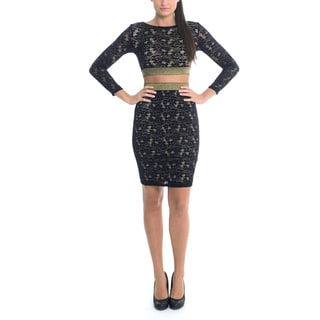 Sentimental NY CROP TOP 2 PIECE SET IN STRETCH FRENCH LACE WITH ELASTIC SHIMMER DETAIL