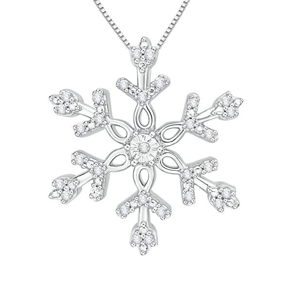 Shop 10k white gold 110ct tdw white diamond snowflake pendant j k 10k white gold 110ct tdw white diamond snowflake pendant j k i1 aloadofball Image collections