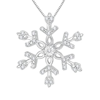 10k White Gold 1/10ct TDW White Diamond Snowflake Pendant (J-K, I1-I2)