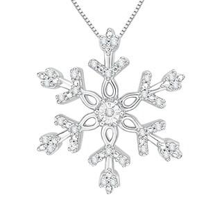 10k White Gold 1/10ct TDW White Diamond Snowflake Pendant (J-K, I1-I2)
