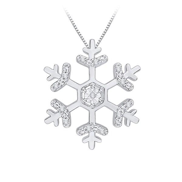 10k White Gold Diamond Snow flake Pendant