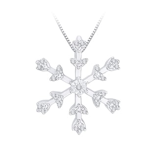 10k White Gold Diamond Accent Snowflake Pendant