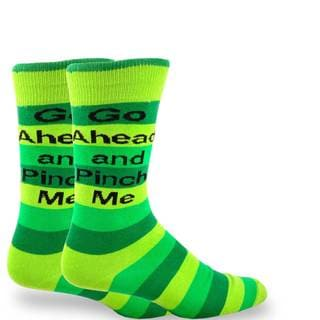 TeeHee Pinch Me St. Patricks Day Stripe Cotton Crew Socks (10-13)