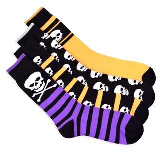 Halloween Socks - I Love Skull Men's 4-Pair Crew Socks