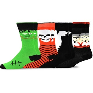 Halloween Socks - Skull Monster Ghost Faces Men's 4-pair Crew Socks