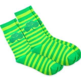 TeeHee Shamrock Stripe St. Patricks Day Cotton Crew Socks (10-13)