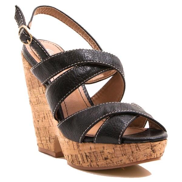 Gomax Women's Shoe Hey There 08 Slingback Platform Cork Wedge Sandal