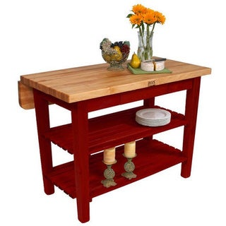 "John Boos 60"" x 32"" Kitchen Island Bar & Drop Leaf KIB02-BR Barn Red with 13-piece J A Hencles Knife Set"