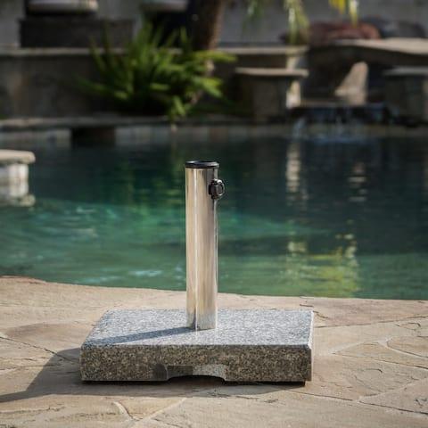 "Berywn Outdoor Square Granite Umbrella Holder by Christopher Knight Home - 2.25""h x 15.75""w x 15.75""l"