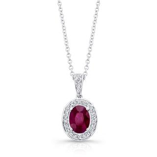 14k White Gold Ruby 1/6ct TDW Diamond Pendant (H-I/VS1-VS2)