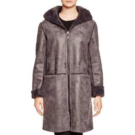 DL2 by Dawn Levy Teddy Gray Shearling Reversible Hooded Coat