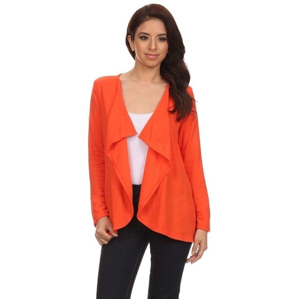 MOA Collection Women's Open Front Cardigan with Draped Collar