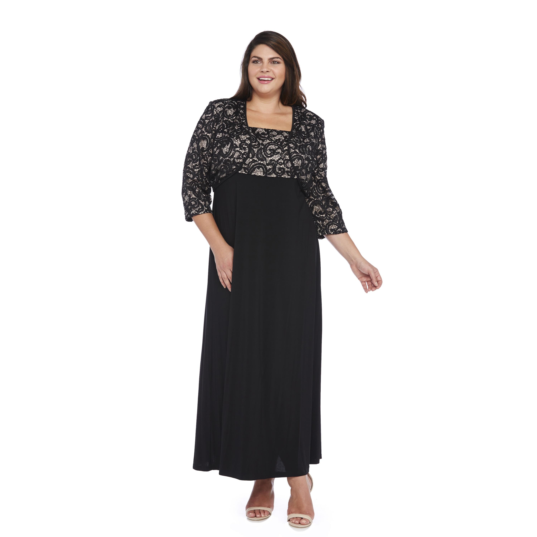 R&M Richards Plus Size Sequin Lace Long Jacket Dress