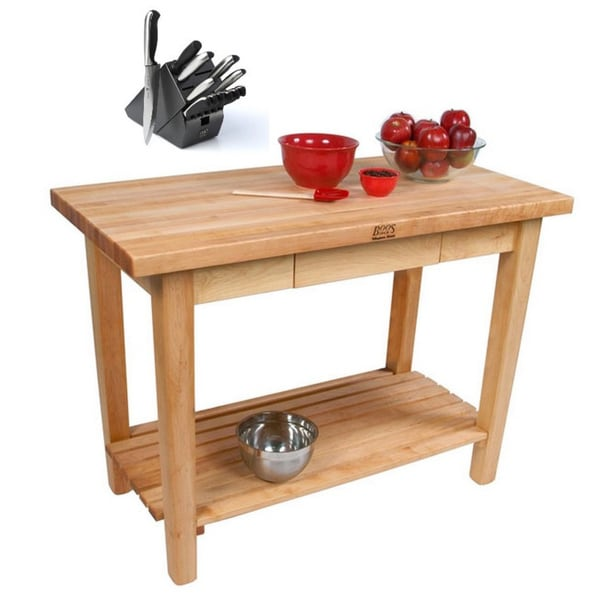 John Boos C01 Country Maple 36x24x35 Work Table With Drawer/Shelf/Towel Rack with Henckels 13 Piece Knife Block Set